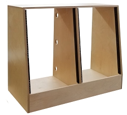 16U x 2 (32U) | AudioRax Baltic Birch 13-Ply Double Bay Slant Studio Equipment Rack, 20