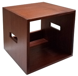LP Vinyl Record Storage Cube, Sapele, Light Brown, Routed Handles, Rubber Feet