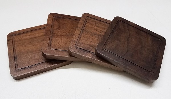 Solid Wood Table Coasters, Set of Four