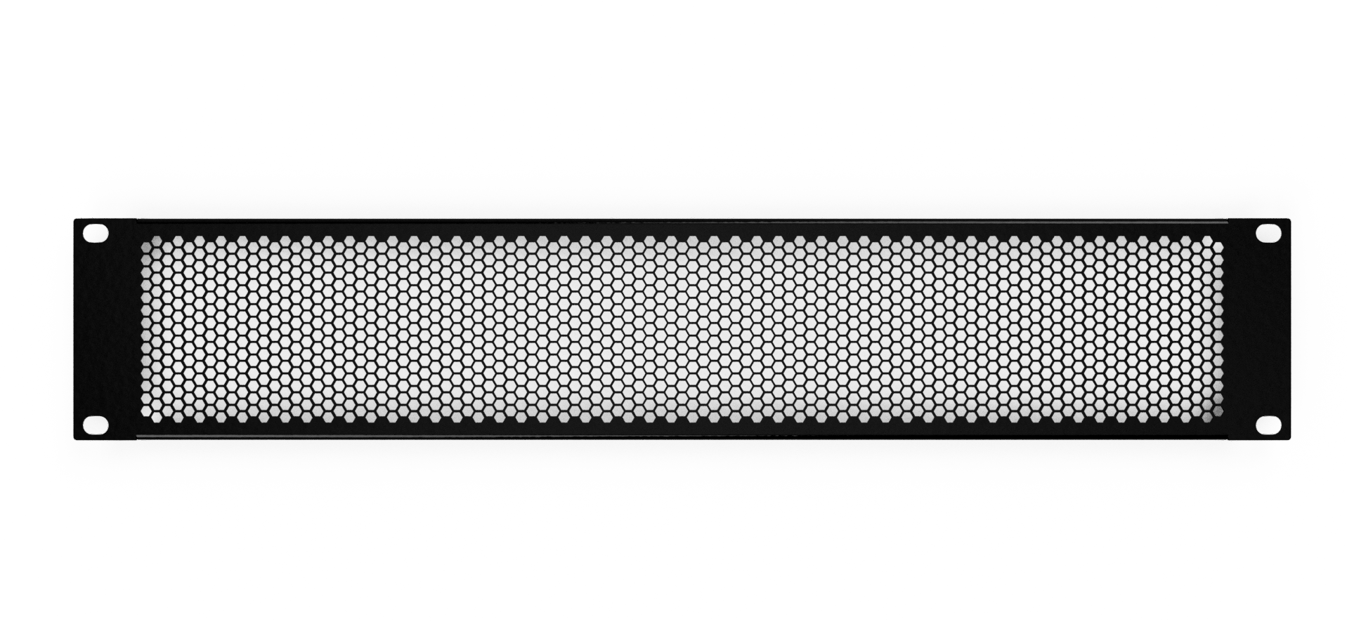 AudioRax Flanged Perforated Vented Hexagons Rack Panel | 2 Space (2U)