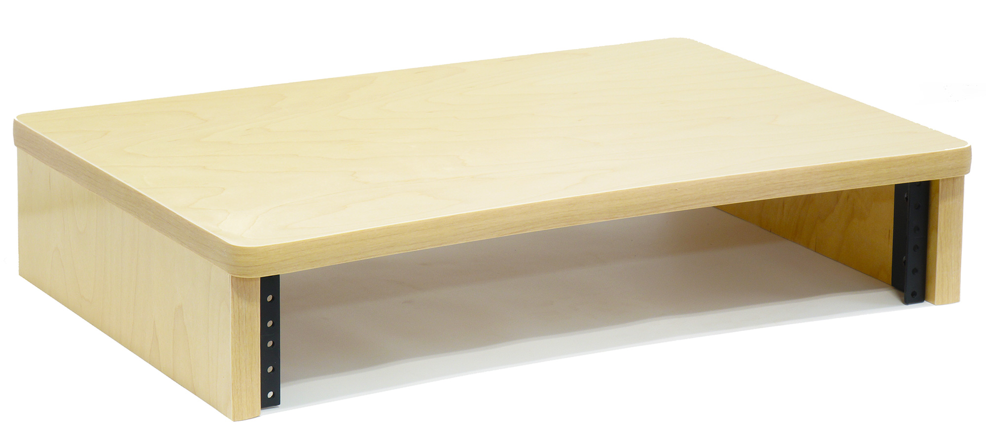 Maple Computer Monitor Stand with 2U Rack Rails