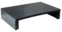 Black Computer Monitor Stand with 2U Rack Rails
