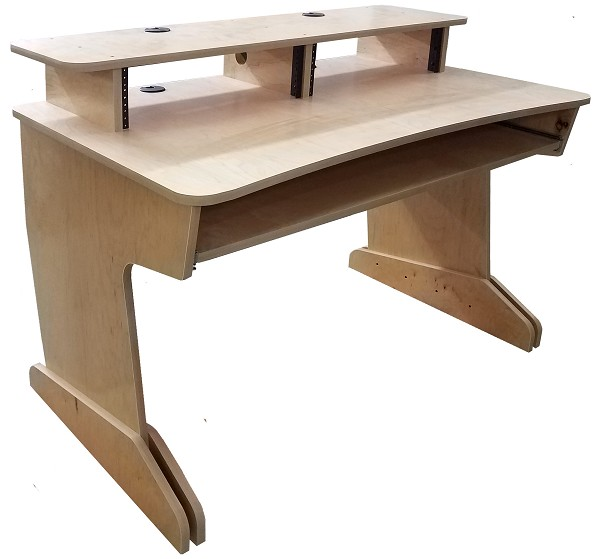 Music Studio Production Desk 48 | 3Ux2 Bridge and Keyboard Tray | Maple