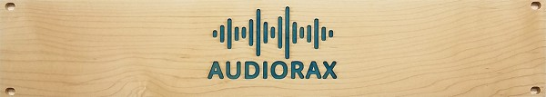 AudioRax | Solid Maple 2U Rack Panel with Blue Epoxy Logo