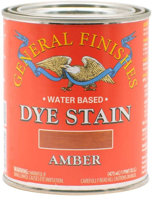 Water Based Dye Stain, 1 Pint, Amber