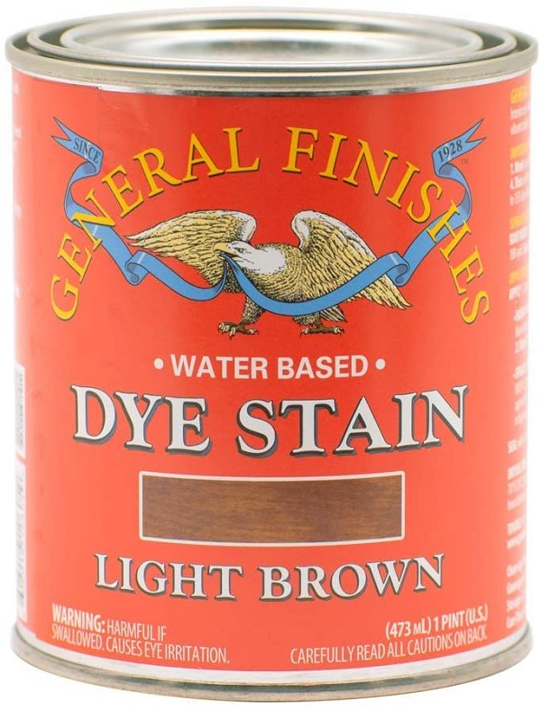 Water Based Dye Stain, 1 Pint, Light Brown